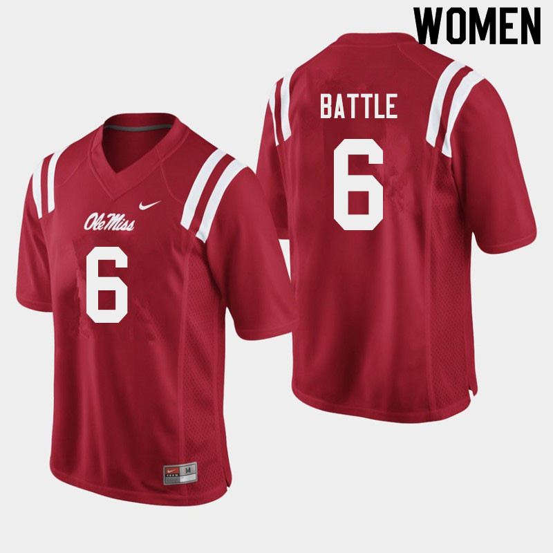 Women #6 Miles Battle Ole Miss Rebels College Football Jerseys Sale-Red